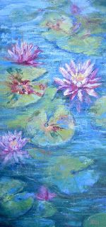 Pink Water Lilies, New Contemporary Landscape Painting by Sheri Jone