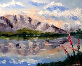 Mark Webster - Palette Knife Mountain Lake Landscape Oil Painting 32111