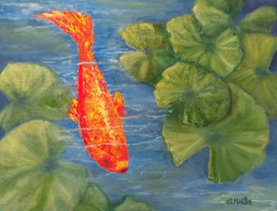 "Koi Painting,Fish, KOI ""The Scout"" by Florida Impressionism Artist Annie St Martin"