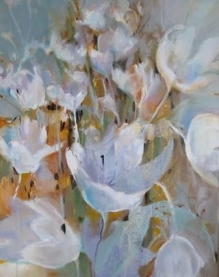 """Contemporary Botanical Floral Tulip Painting """"Flowering"""" by Intuitive Artist Joan Fullerton"""