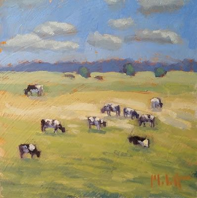 Cow Art Original Oil Painting Landscape Heidi Malott