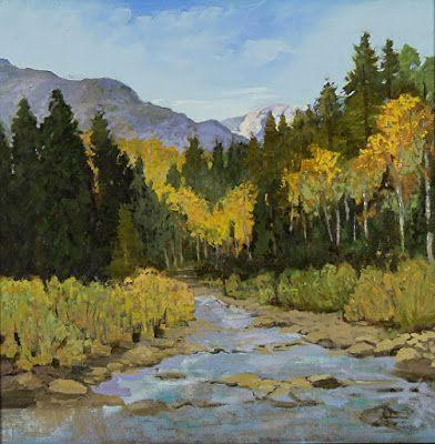 "Colorado Landscape Oil Painting, Rocky Mountains, Aspen Trees ""Angel Creek in Autumn"" by Colorado Landscape Artist Susan Fowler"