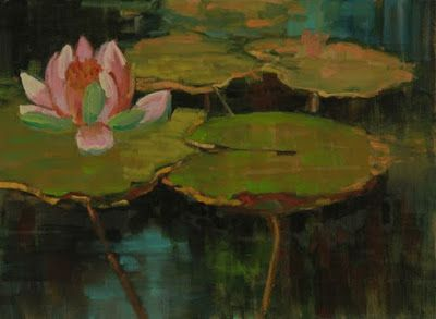 "Lily Pond, Landscape Art Painting ""Lily Pond X"" by Colorado Artist Susan Fowler"