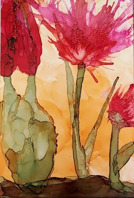 """Contemporary Still Life Floral Painting, Flower Art """"Cactus Floral in Desert Light"""" by Arizona Abstract Artist Cynthia A. Berg"""