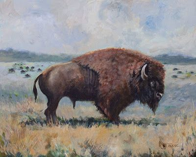 "Western Wildlife Painting, Buffalo, Western Landscape, Fine Art Painting ""American-Bison"" by Colorado Artist Nancee Jean Busse, Painter of the American West"