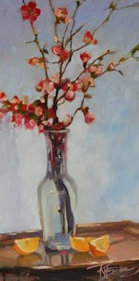 """Tall Quince"" Still life painting by Robin Weiss"