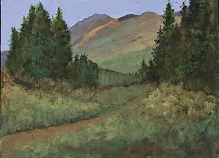 """Colorful Colorado Mountain Landscape Oil Painting """"To The Mountains"""" by Colorado Artist Susan Fowler"""