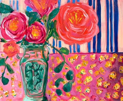 "Expressive Still Live Floral Painting, Colorful Original Flower Art, ""KITCHEN TABLE"" by Texas Contemporary Artist Jill Haglund"