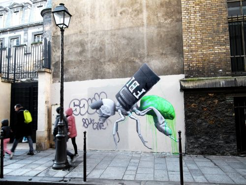 Ludo latest street pieces in Paris, France