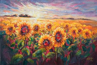 "New ""Sundown Serenade"" Sunflower Palette Knife Painting by Niki Gulley"
