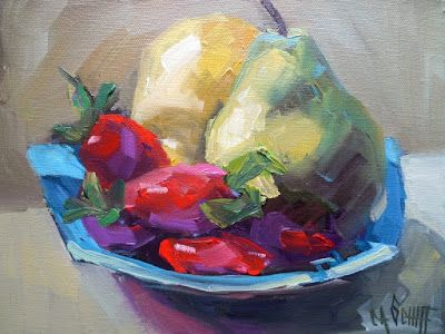 Fruit Still Life, Pears and Strawberries, Daily Painting, Small Oil Painting, 8x10