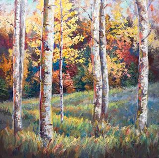 "New ""Harmonic Hues"" Aspen Tree Palette Knife Painting by Niki Gulley"