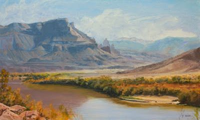 "Western Landscape Painting, Fine Art, Utah, Moab, Mountains,""River to Moab"" by Colorado Artist Nancee Jean Busse, Painter of the American West"