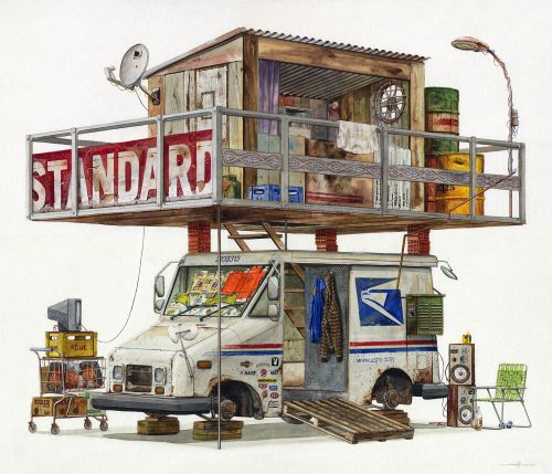 Watercolor Paintings of Imagined Trash Structures Packed With Advertising by Alvaro Naddeo