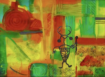 "Contemporary Abstract Mixed Media Art Paintings ""The Shaman"" by Arizona Contemporary Artist Pat Stacy"