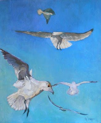 Coastal Wall Decor, Seagulls Painting, Daily Painting, 20x24x1.5