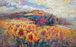 "New ""Sunny Plateau"" Palette Knife Sunflower Painting by Niki Gulley"
