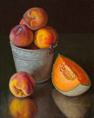 Peaches and cantaloupe fruit painting original daily painting a day still life contemporary realism