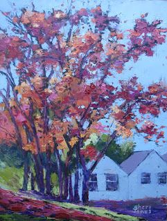 Trees Vibrant Hues, New Contemporary Landscape Painting by Sheri Jones
