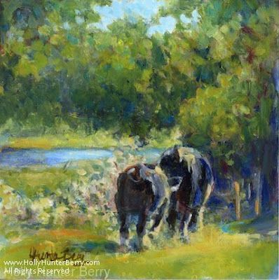 """Contemporary Impressionist Landscape Painting, Cow, """"Hanging Out With Mom"""" By Passionate Purposeful Painter Holly Hunter Berry"""