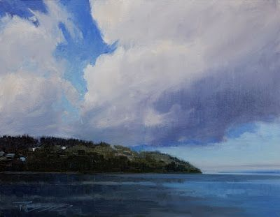 """Leaving Kingston"" oil, marinescape by Robin Weiss"