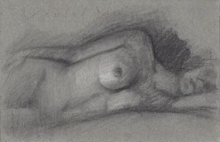Female nude figure repose study
