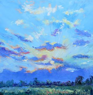 Artistic Cloud Scape, New Contemporary Landscape Painting by Sheri Jones