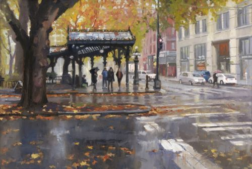 """Autumn Leaves"" Seattle city oil painting by Robin Weiss"