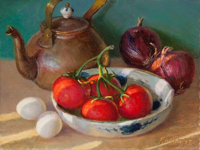 Tomatoes onions eggs and a kettle still life painting contemporary realism a painting a day