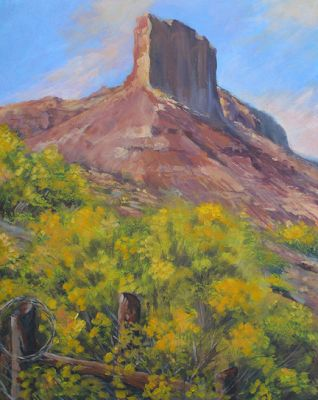 "Original Colorado Landscape Painting ""The Palisade at Gateway"" by Colorado Artist Nancee Jean Busse, Painter of the American West"