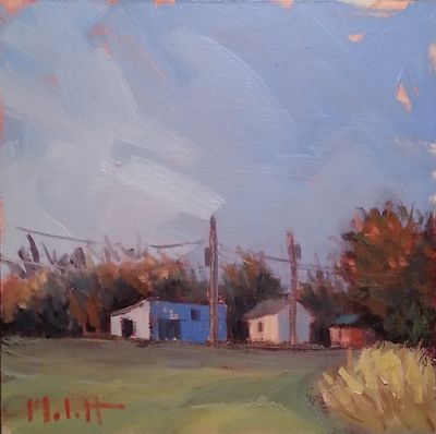 Autumn Landscape Blue Barn Original Daily Oil Painting and Prints Heidi Malott
