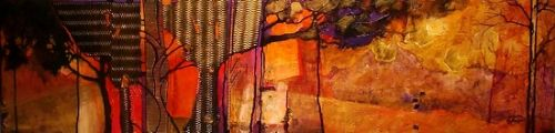 "Abstract Mixed Media Landscape Painting ""FOREST ELEMENTS 11062"" by Colorado Mixed Media Abstract Artist Carol Nelson"