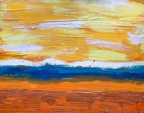 """Creamsicle"" Modern Abstract Textured Mixed Media Painting from the Sweet Things Series by Lisa McKinney Kreymborg"