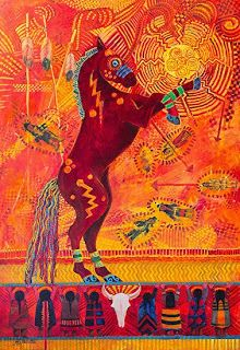 "Native American Folklore Art,Contemporary Western Art ,Equine Painting ""SITTING BULL'S DANCING HORSE"" by Colorado Landscape Artist Nancee Jean Busse"