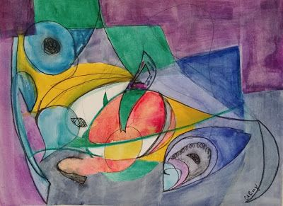 """Contemporary Abstract Painting, Expressionism """"Miro-esque"""
