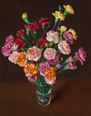 Carnation flower still life painting flora original oil painting a day contemporary directly from the artist