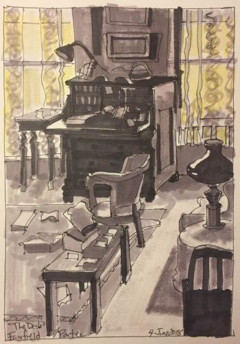"""Day 241 """"Value Study of The Desk by Fairfield Porter"""" 9 x 6 ink and marker"""