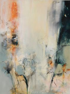 """Abstract Mixed Media Botanical Landscape Painting """"From Seeds"""" by Intuitive Artist Joan Fullerton"""