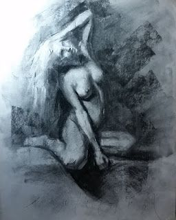 Seated female nude abstract realist drawing