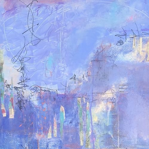 """Contemporary Abstract Expressionist Painting """"VISITING THE CITY SUMMER GARDEN"""" by Abstract Artist Pamela Fowler Lordi"""