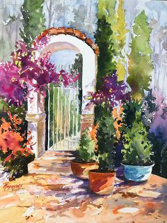 How Does Your Garden Grow?. Watercolor.Texas Artist .Rae Andrews