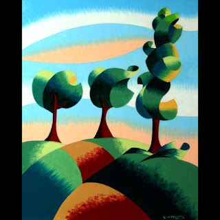 Mark Webster - Three Trees - Abstract Landscape Oil Painting