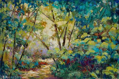 "Contemporary Colorful Landscape, Tree Painting, Mixed Media, ""Approach The Garden"" By Passionate Purposeful Painter Holly Hunter Berry"
