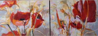 """Contemporary Botanical Floral Poppy Painting """"POPPY DIPTYCH"""" by Intuitive Artist Joan Fullerton"""