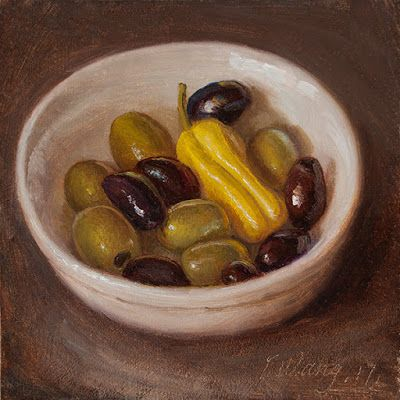 Olives in a bowl, still life oil painting small daily painting a painting a day foot paiting