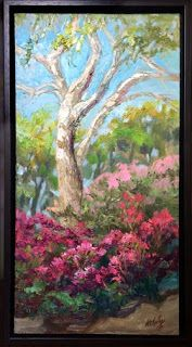 """""""Visions of Azaleas"""" Palette Knife Oil Painting by Niki Gulley"""