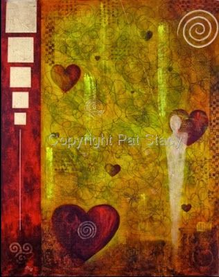 """Original Contemporary Abstract Mystical Figure,Hearts Mixed Media Painting """"VENUES MYSTIQUE"""" by Contemporary Arizona Artist Pat Stacy"""