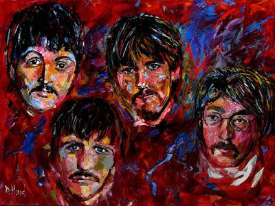 The Beatles art painting John Lennon, Ringo Starr, Paul McCartney, George Harrison Paintings by Debra Hurd