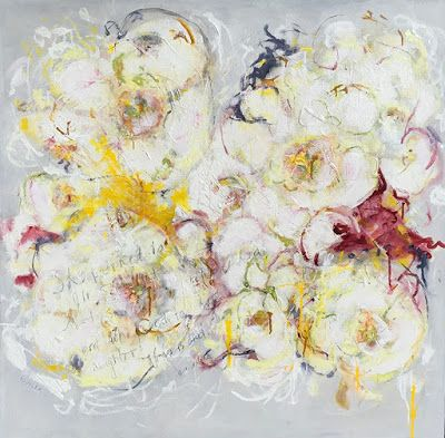"""Contemporary Abstract Expressionist Floral Painting """"TO BLOOM"""" by Abstract Artist Pamela Fowler Lordi"""