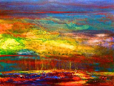"""Abstract Landscape, Fine Art Print, """"Earth's Energy"""" by California Artist Cecelia Catherine Rappaport"""